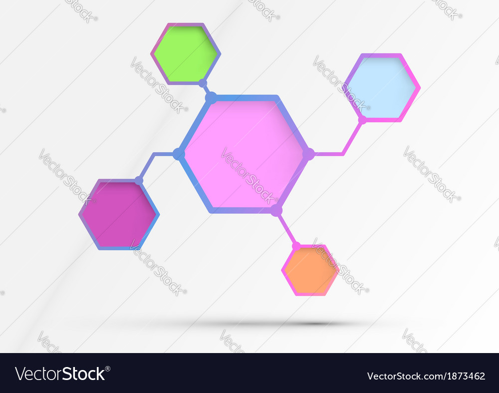 Structured diagram - information in hexagons - vector | Price: 1 Credit (USD $1)