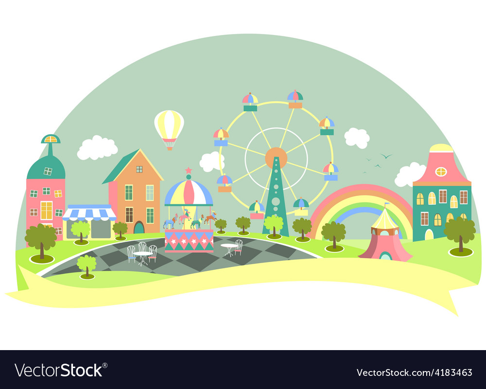 Amusement park in flat style vector | Price: 3 Credit (USD $3)