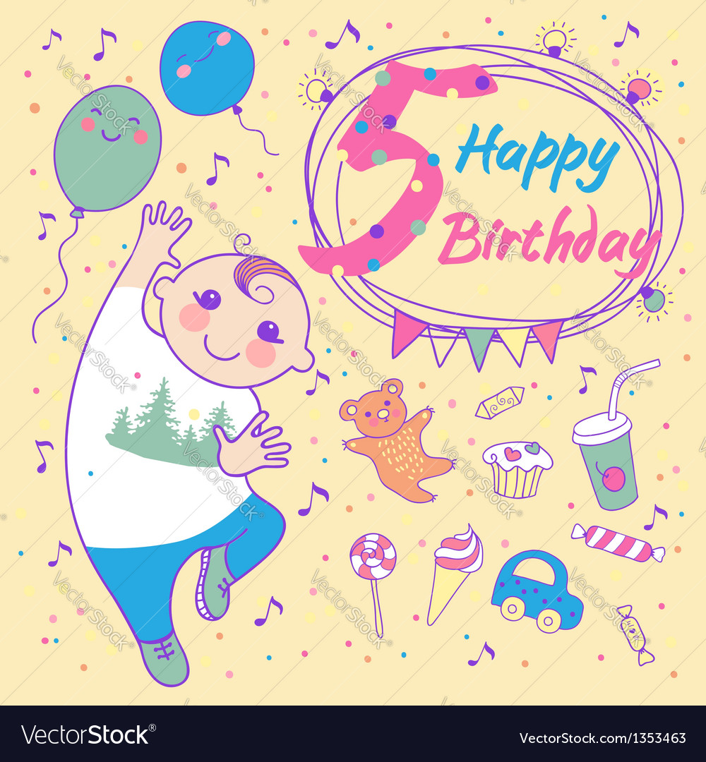 Birthday of the little boy 5 years vector | Price: 3 Credit (USD $3)