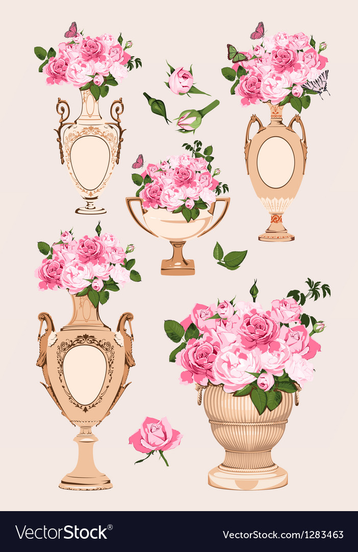 Collection of vases roses on pink background vector | Price: 3 Credit (USD $3)