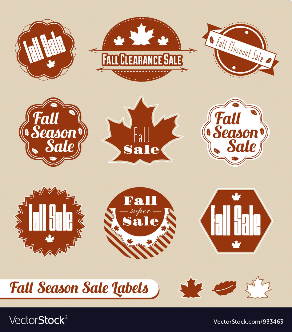 Fall seasonal sale label set vector | Price: 1 Credit (USD $1)