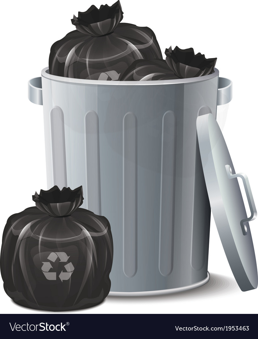 Iron bin with garbage bag vector | Price: 1 Credit (USD $1)