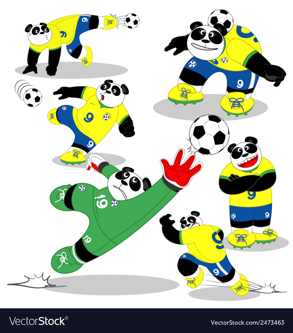 Panda soccer brasil all action2 vector | Price: 1 Credit (USD $1)