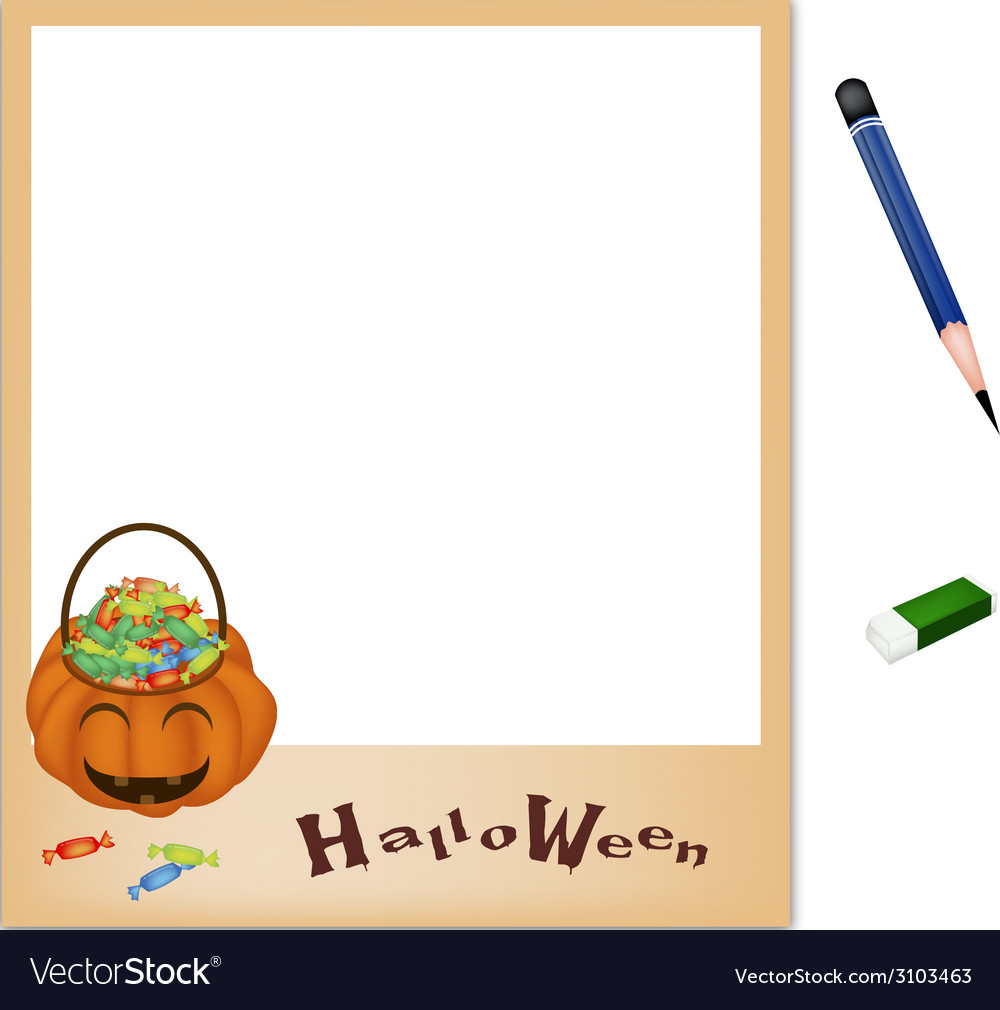 Pencil with jack o lantern picture frame vector | Price: 1 Credit (USD $1)
