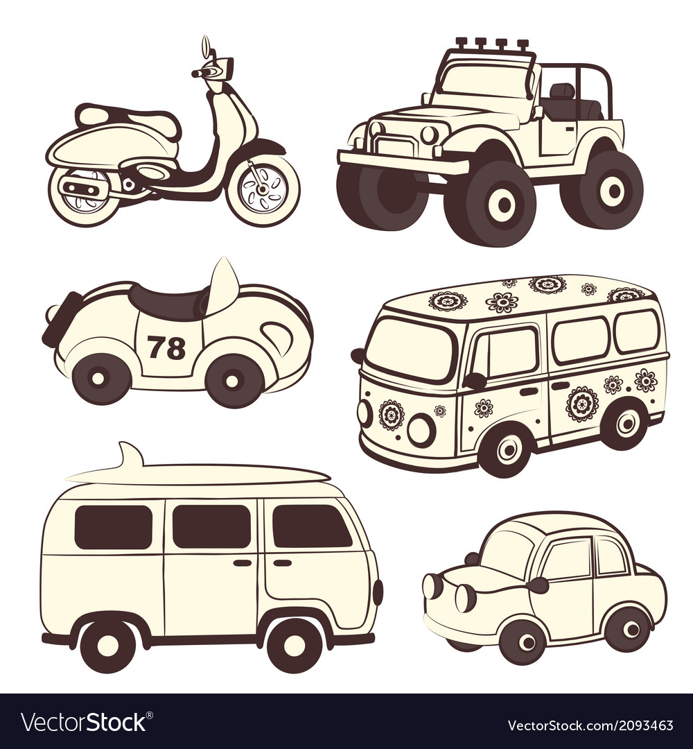 Retro cars icons set vector | Price: 1 Credit (USD $1)