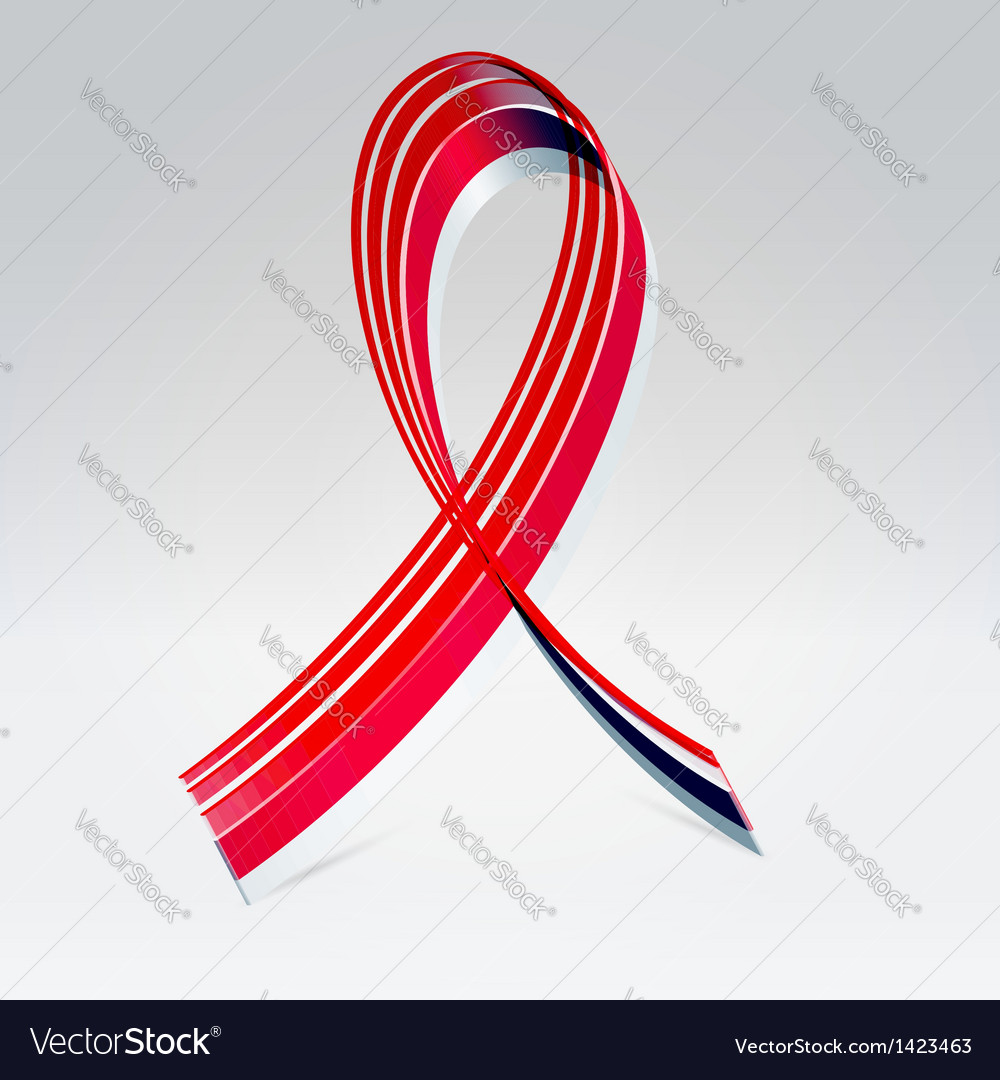 Symbolic striped red ribbon vector | Price:  Credit (USD $)