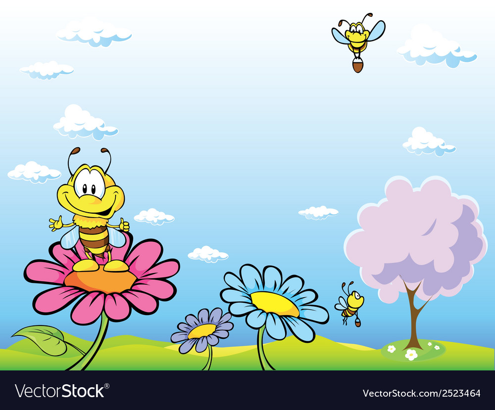 Bee cartoon sitting on flower vector | Price: 1 Credit (USD $1)