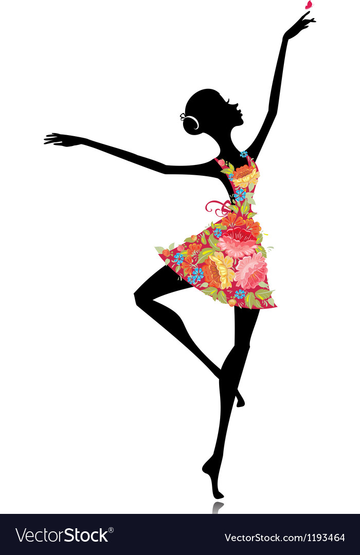 Flower sihoutte ballerina vector | Price: 1 Credit (USD $1)
