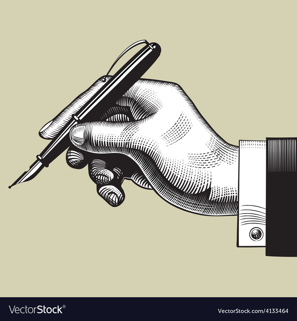 Hand with a pen vector | Price: 3 Credit (USD $3)