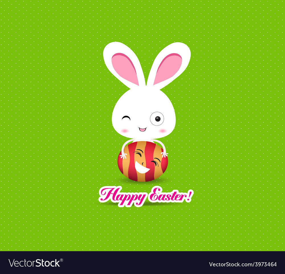 Happy easter eggs and bunny funny vector | Price: 1 Credit (USD $1)