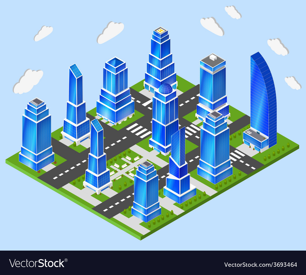 Office city center industry planning vector | Price: 1 Credit (USD $1)