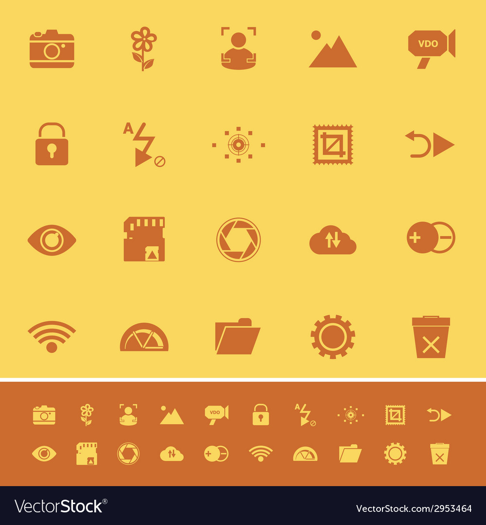 Photography sign color icons on orange background vector | Price: 1 Credit (USD $1)