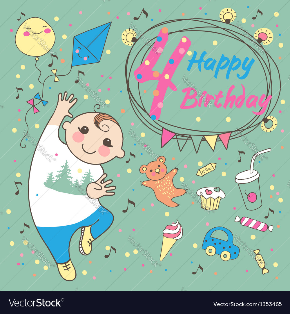 Birthday of the little boy 4 years vector | Price: 3 Credit (USD $3)