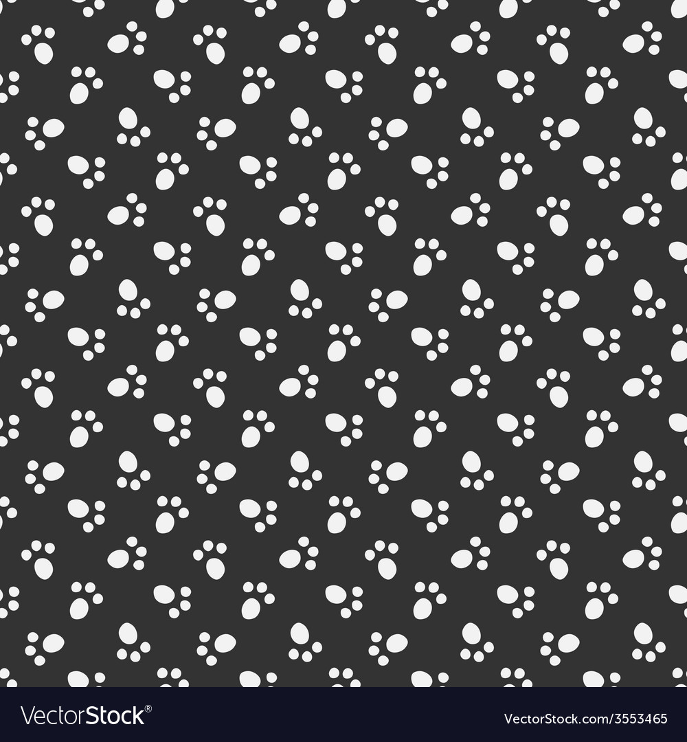 Black animal footprint seamless pattern vector | Price: 1 Credit (USD $1)