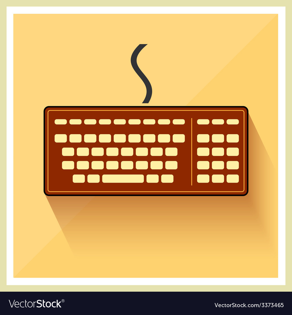 Classic computer keyboard flat icon vintage vector | Price: 1 Credit (USD $1)