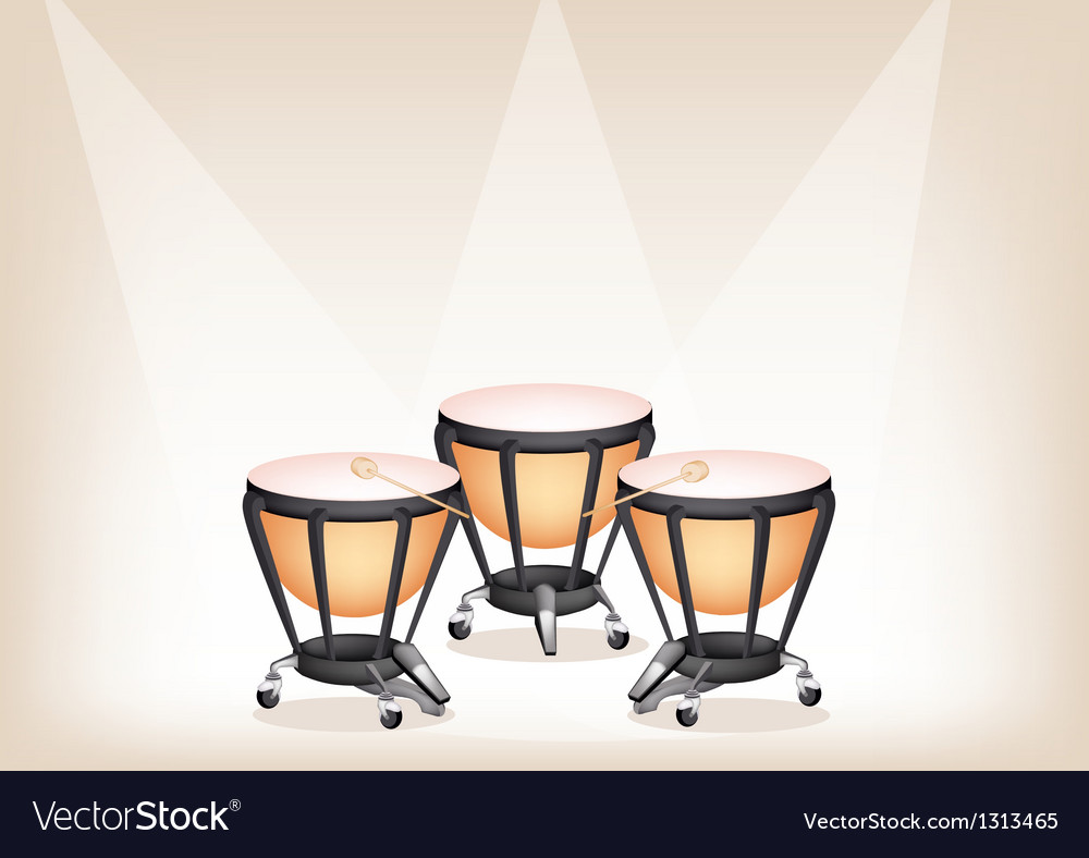 Classical timpanis on brown stage background vector | Price: 1 Credit (USD $1)