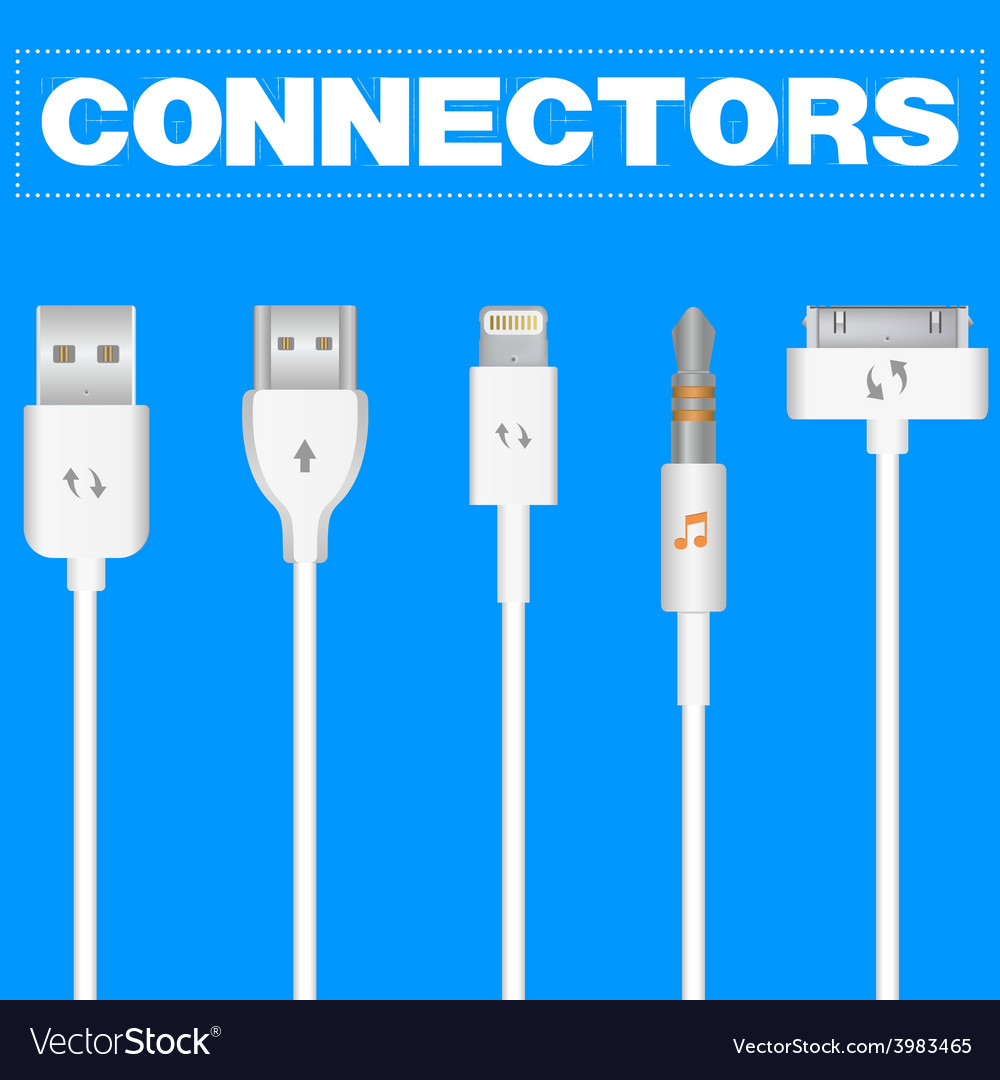 Connectors and sockets for pc and mobile devices vector | Price: 1 Credit (USD $1)