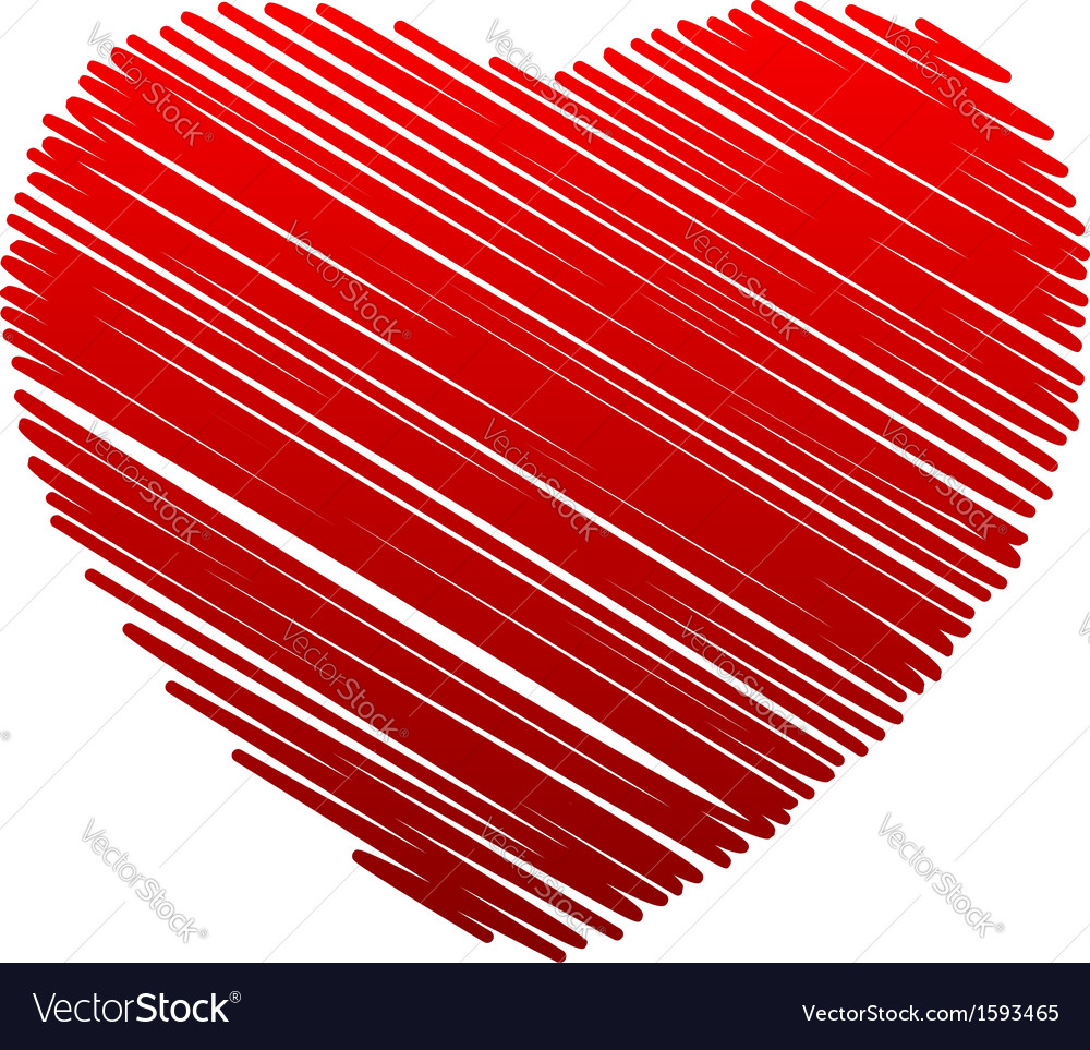 Sketched red heart vector | Price: 1 Credit (USD $1)