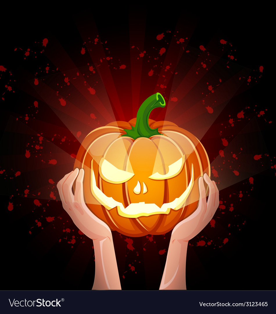 Two hands holding pumpkin halloween vector | Price: 1 Credit (USD $1)