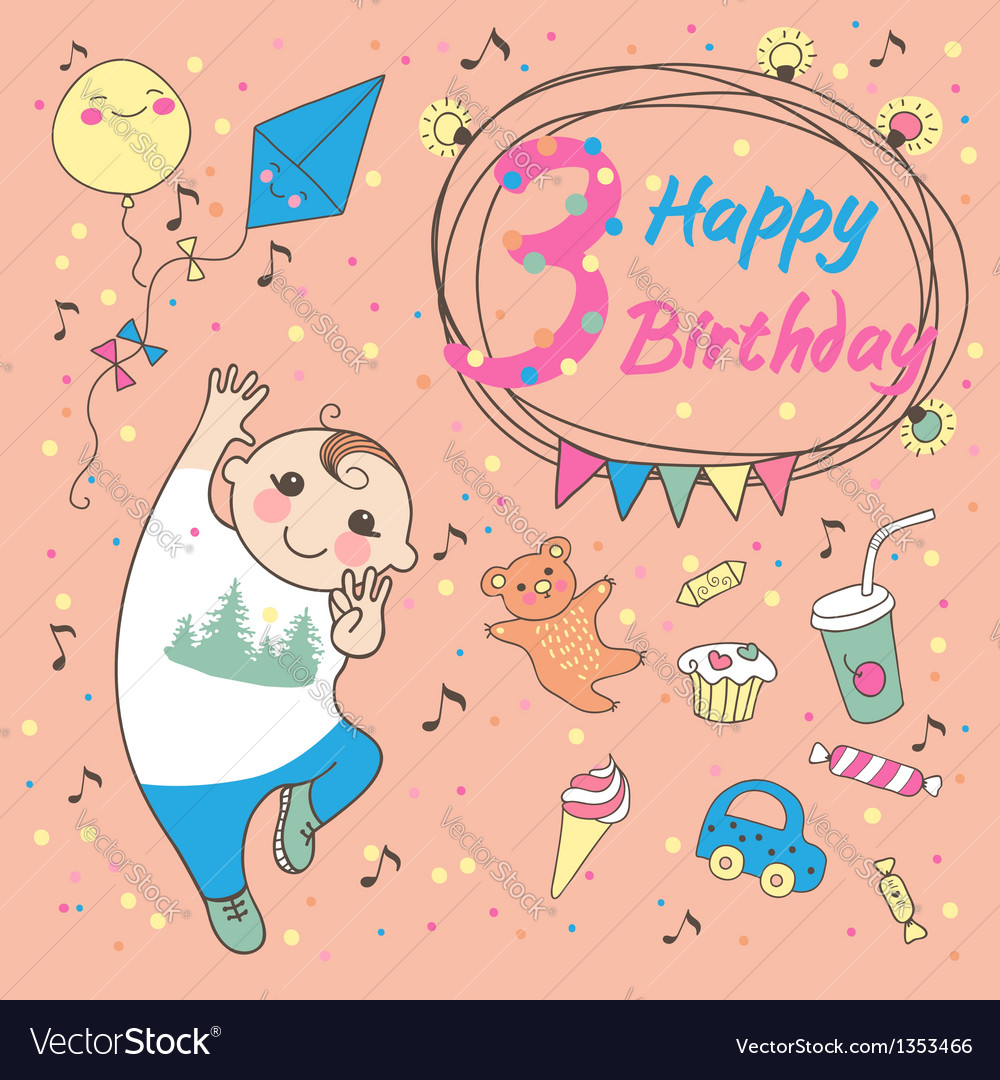 Birthday of the little boy 3 years vector | Price: 3 Credit (USD $3)