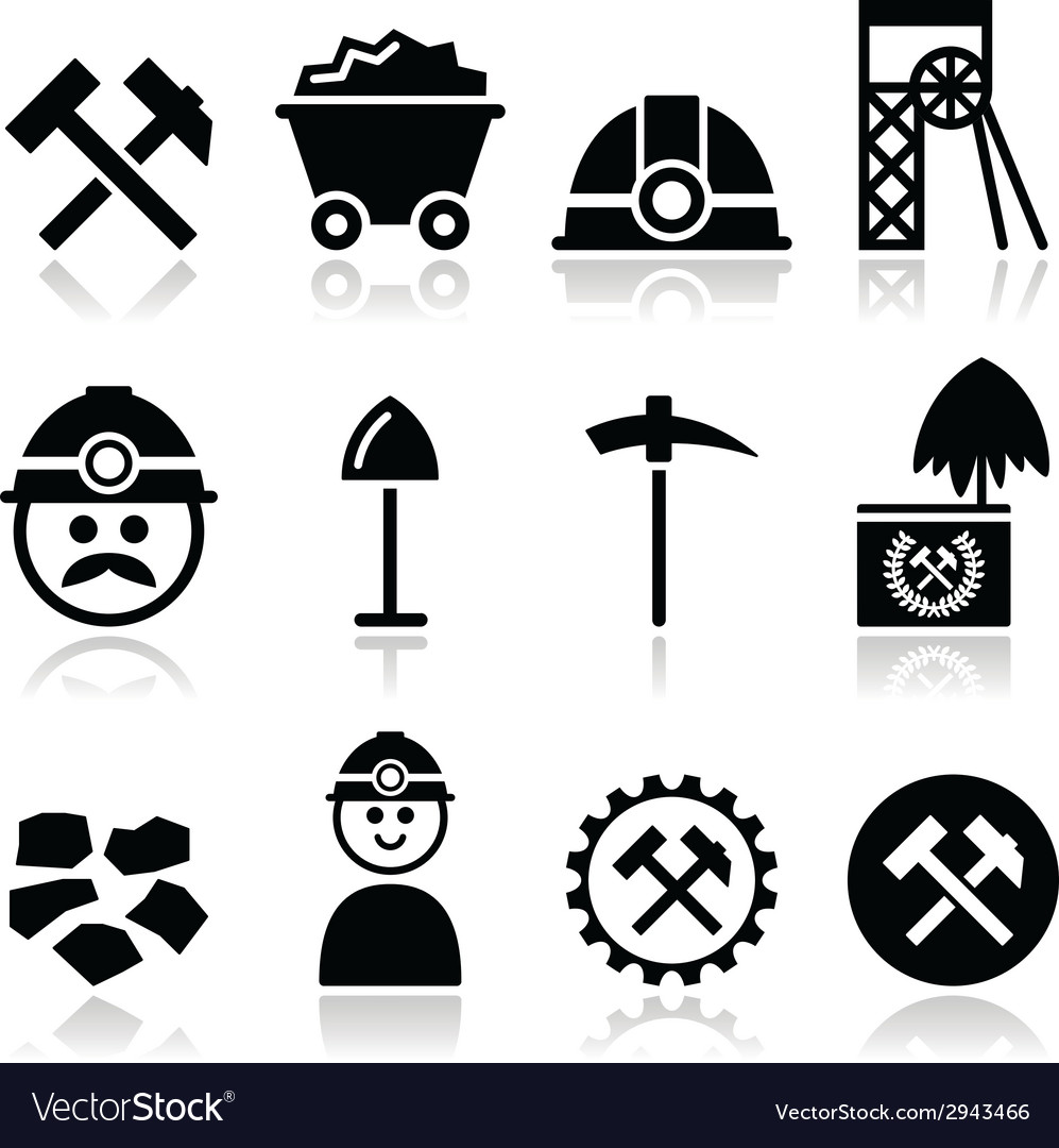 Coal mine miner icons set vector | Price: 1 Credit (USD $1)