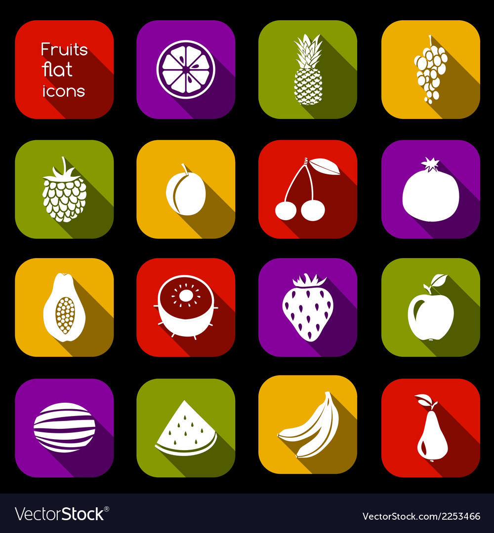 Fruits icons flat vector   Price: 1 Credit (USD $1)