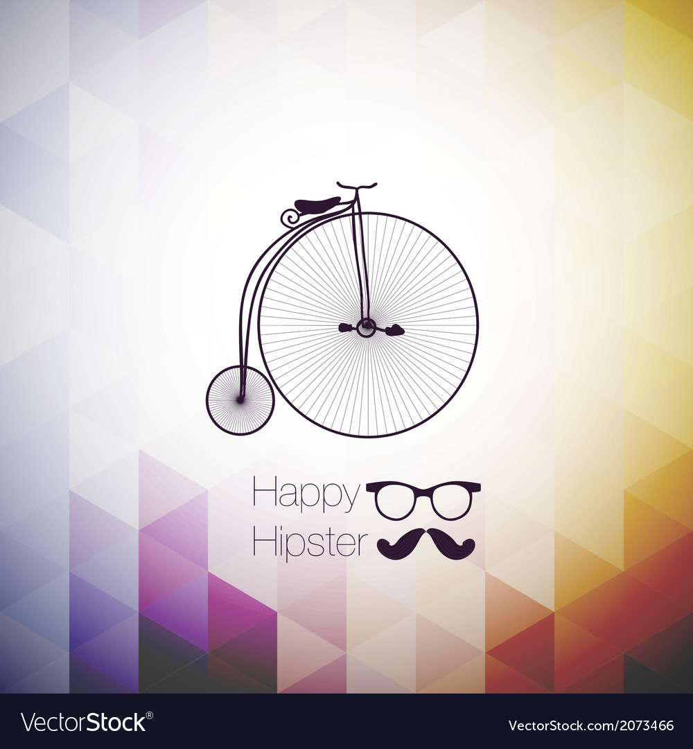 Hipster mustag retro bicycle triangle background vector | Price: 1 Credit (USD $1)