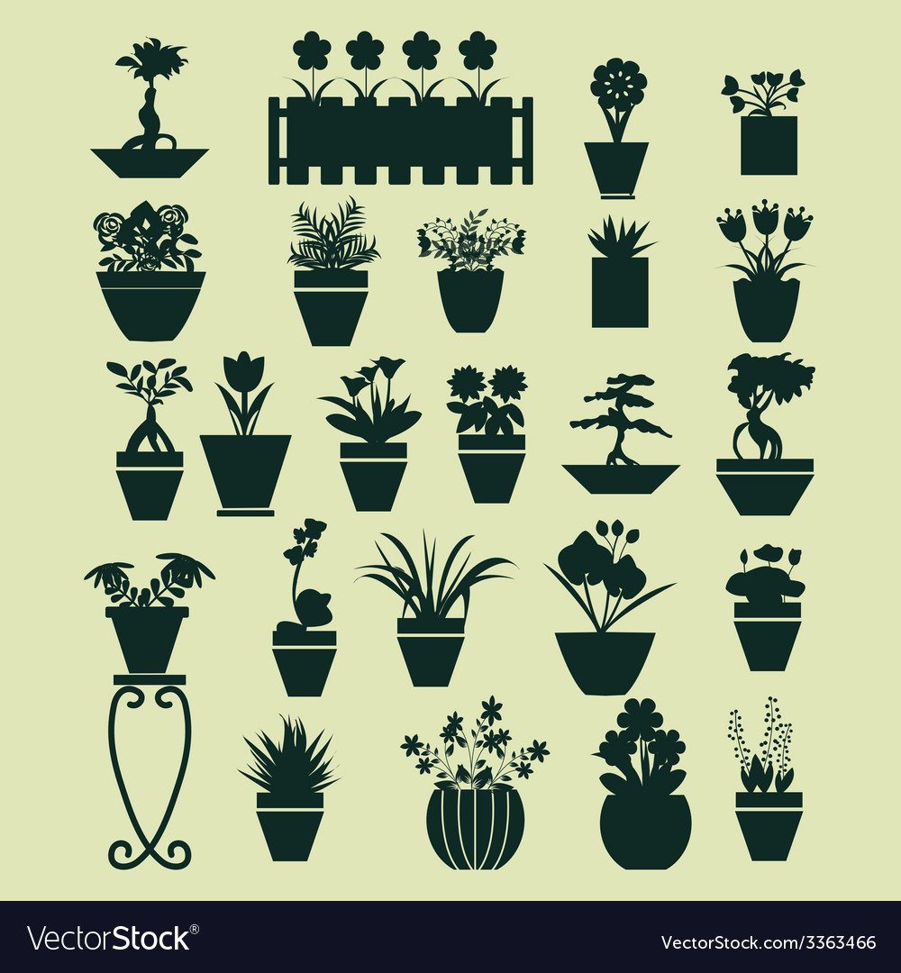 Icons set of plant silhouette collection vector | Price: 1 Credit (USD $1)