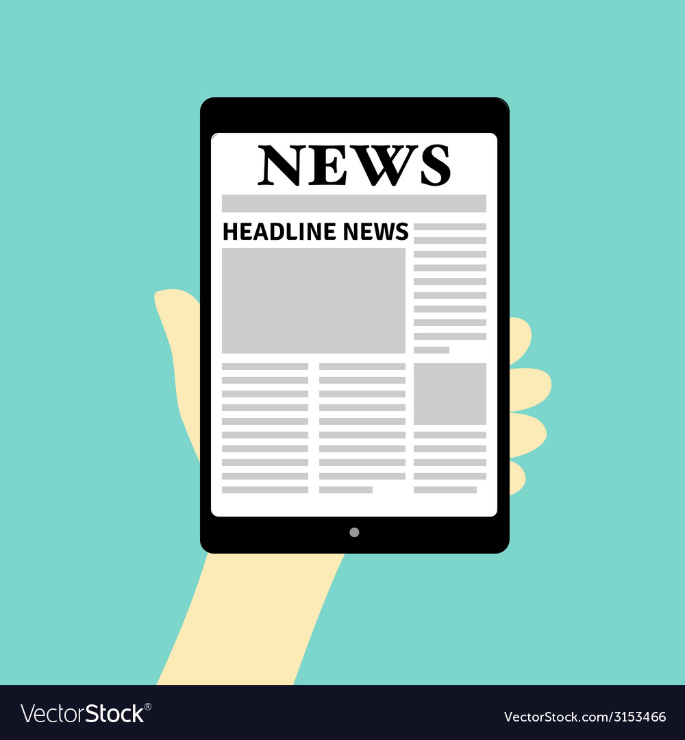 Newspaper on tablet vector | Price: 1 Credit (USD $1)