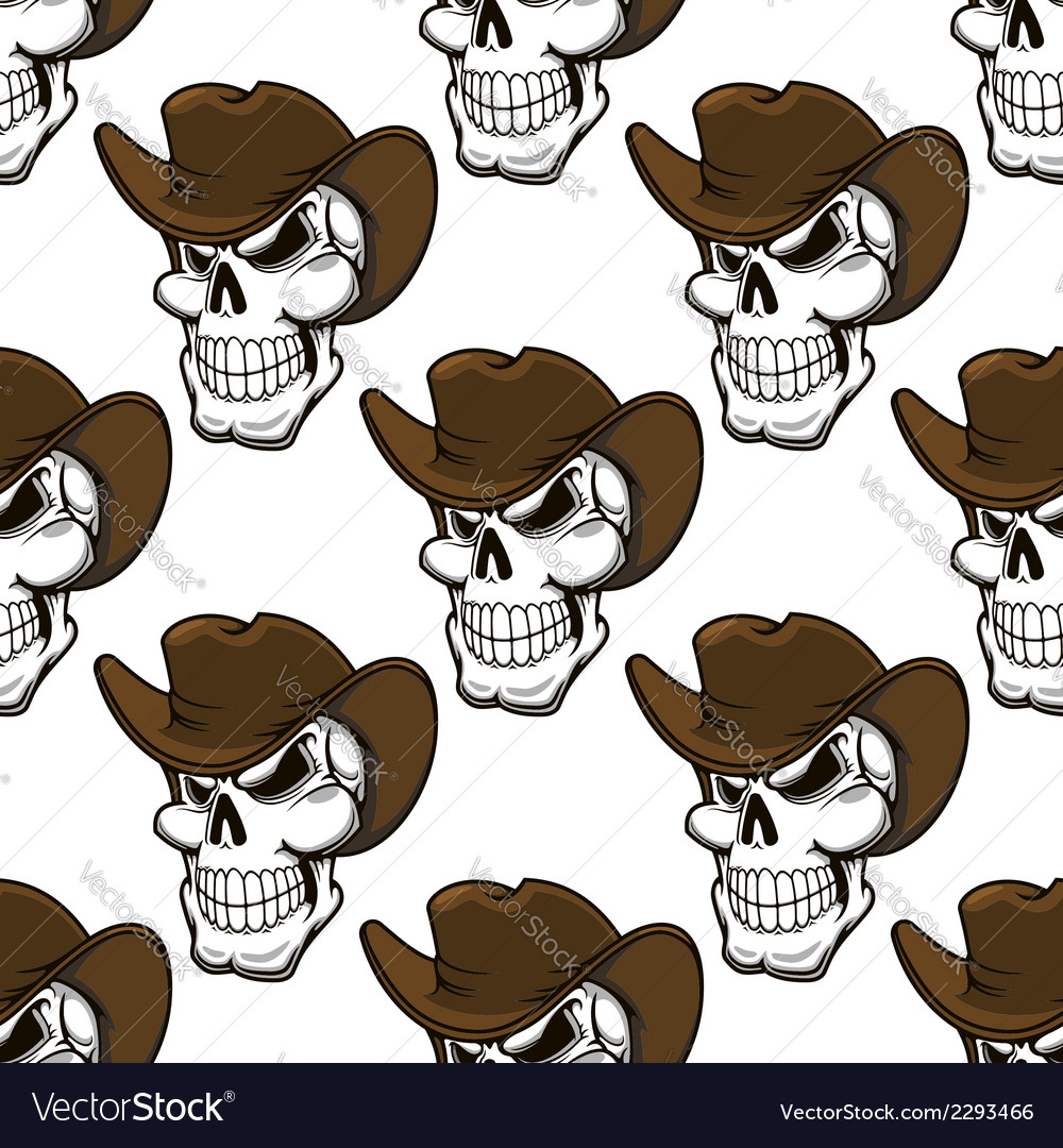 Skull in a stetson seamless pattern vector | Price: 1 Credit (USD $1)