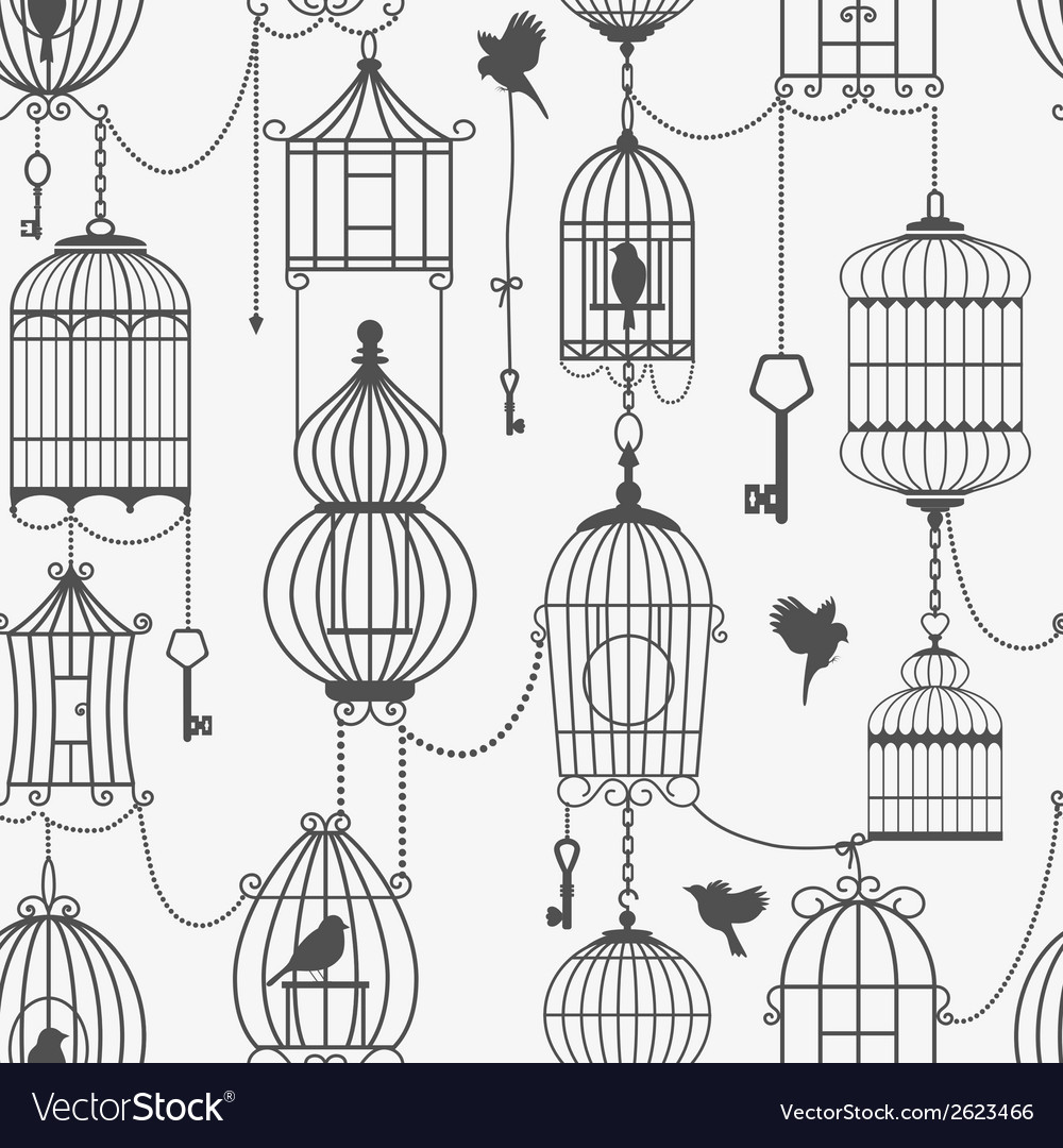 Vintage birds and birdcages collection seamless vector | Price: 1 Credit (USD $1)