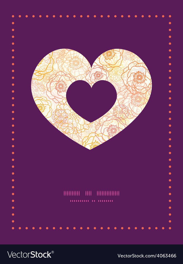 Warm flowers heart symbol frame pattern vector | Price: 1 Credit (USD $1)