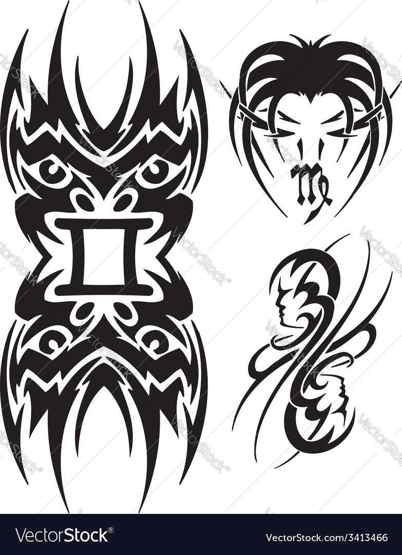 Zodiac signs - maiden vinyl-ready set vector | Price: 1 Credit (USD $1)