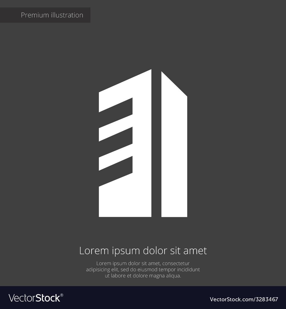 Building premium icon white on dark background vector | Price: 1 Credit (USD $1)