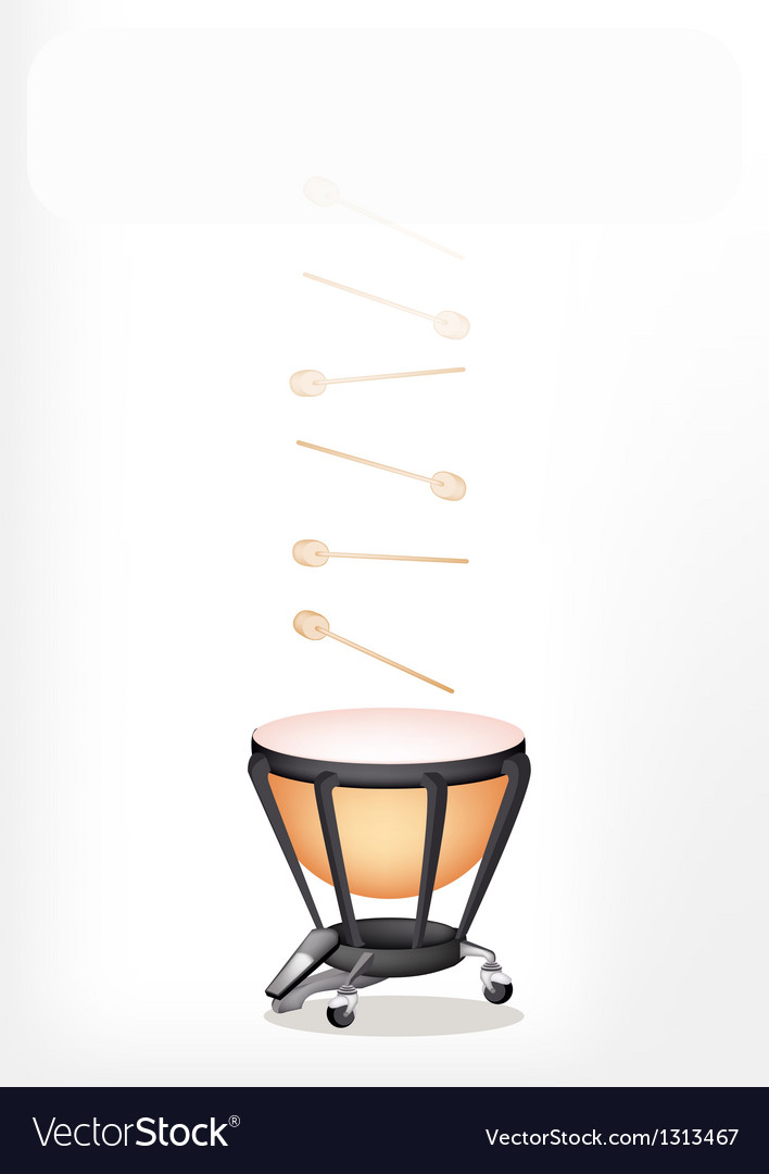 Classical timpani with sticks on white background vector | Price: 1 Credit (USD $1)
