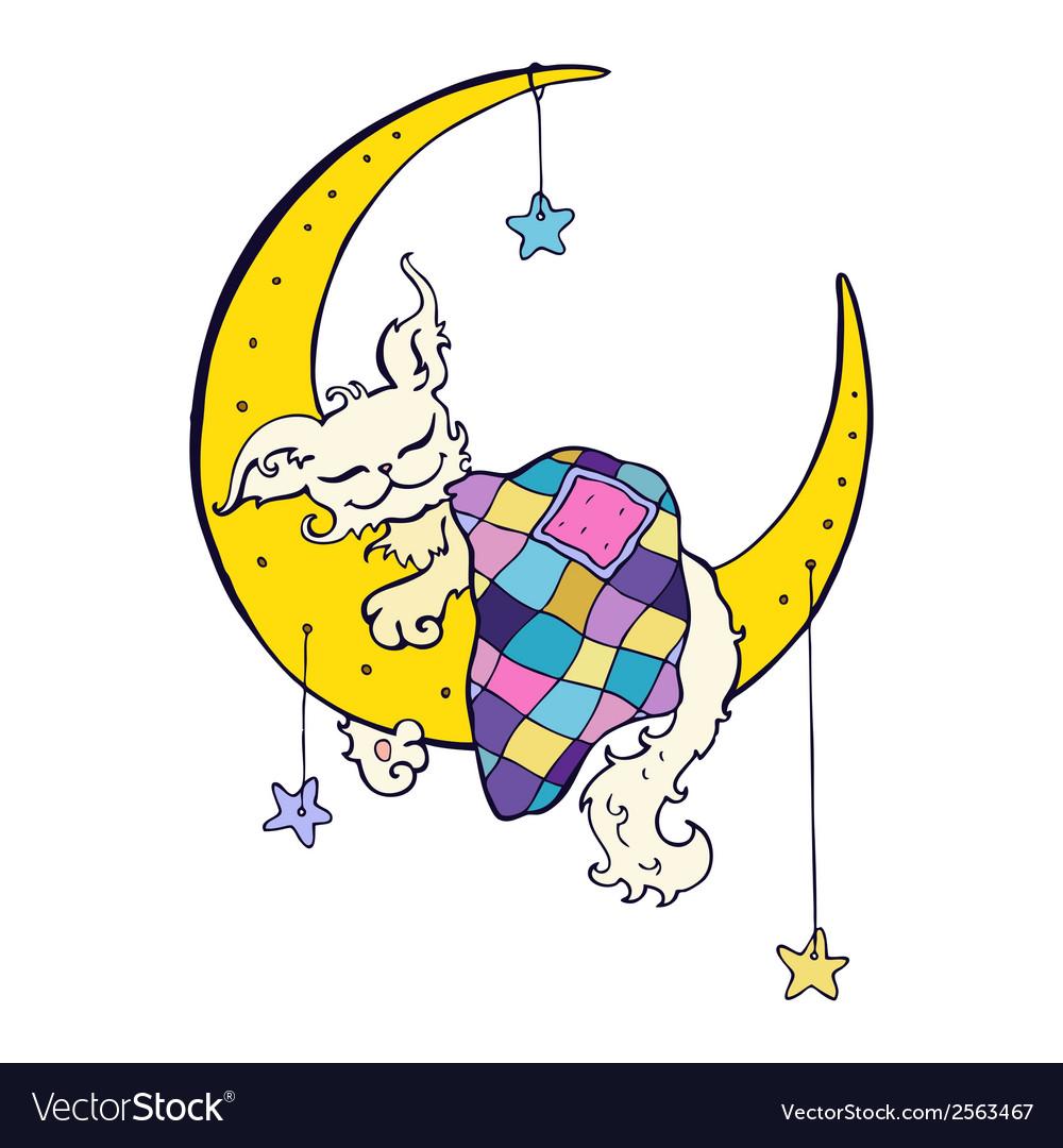 Cute dog sleeps on the moon vector | Price: 1 Credit (USD $1)