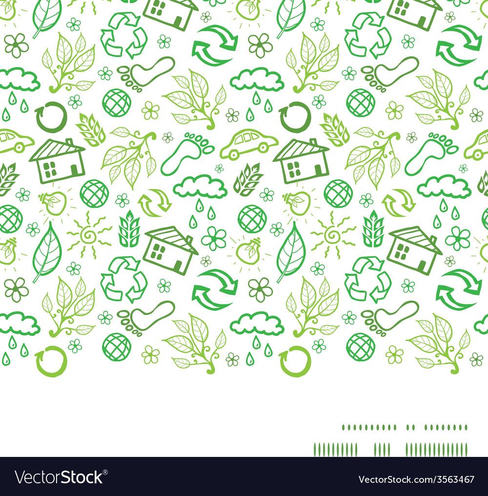 Ecology symbols horizontal frame seamless pattern vector | Price: 1 Credit (USD $1)