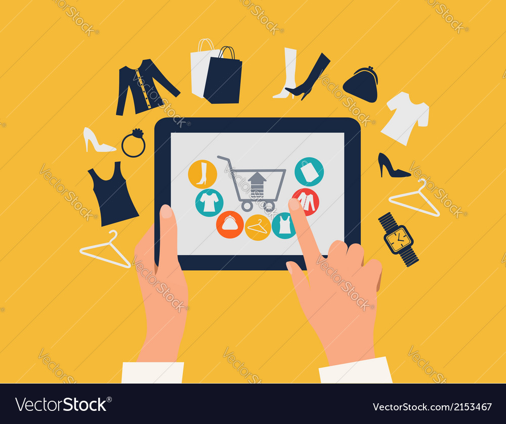 E-shopping concept hands touching a tablet with vector   Price: 1 Credit (USD $1)