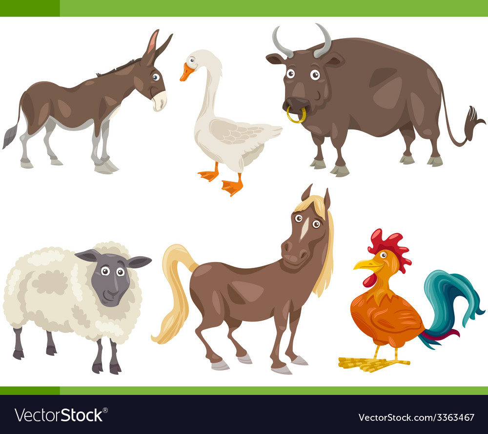 Farm animals cartoon set vector | Price: 3 Credit (USD $3)