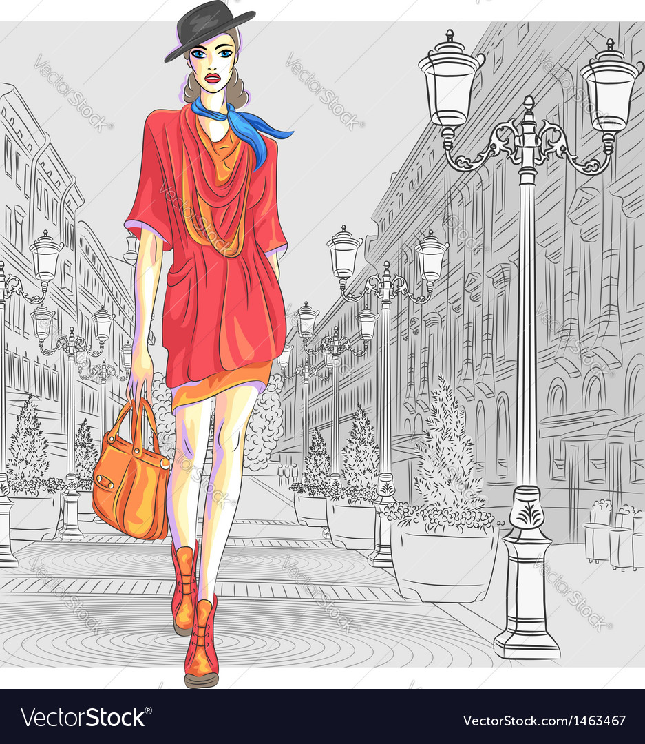 Fashion girl in hat with bag vector | Price: 3 Credit (USD $3)