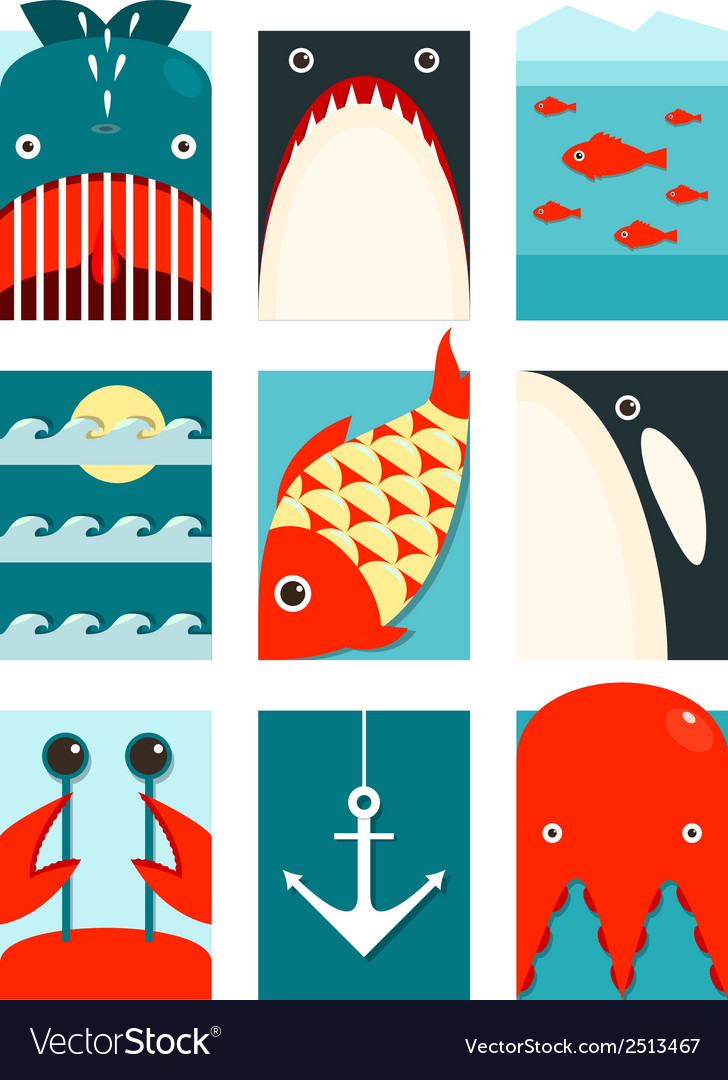 Flat sea and fish rectangular nautical set vector | Price: 1 Credit (USD $1)