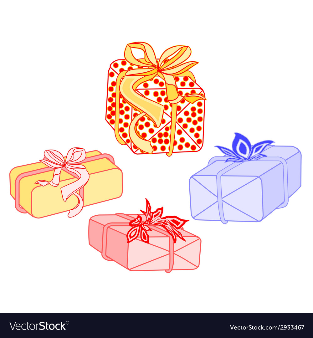 Gifts for christmas with ribbon and poinsettia vector | Price: 1 Credit (USD $1)