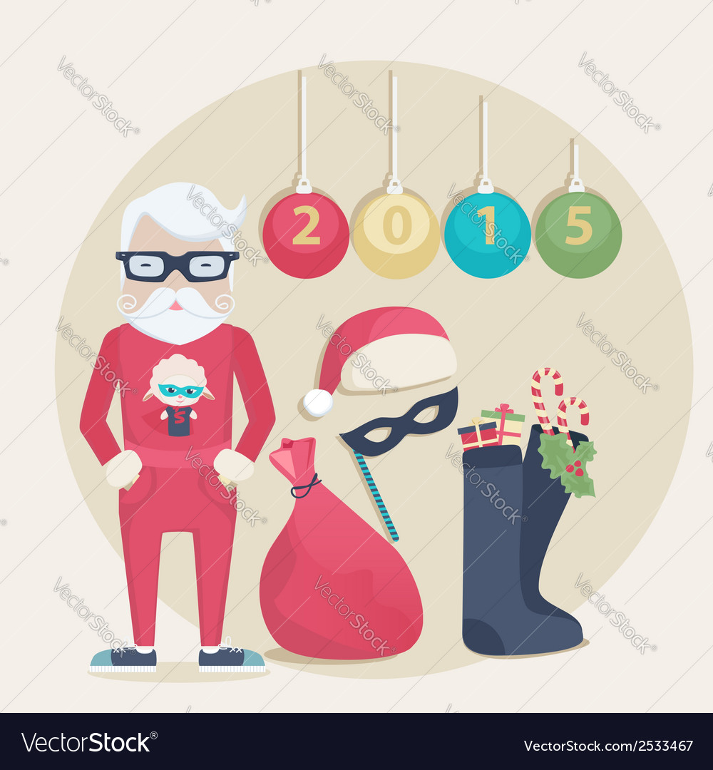 New year santa set vector | Price: 1 Credit (USD $1)