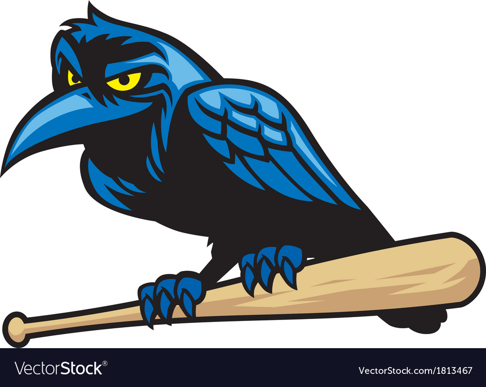 Raven mascot and the baseball bat vector | Price: 1 Credit (USD $1)