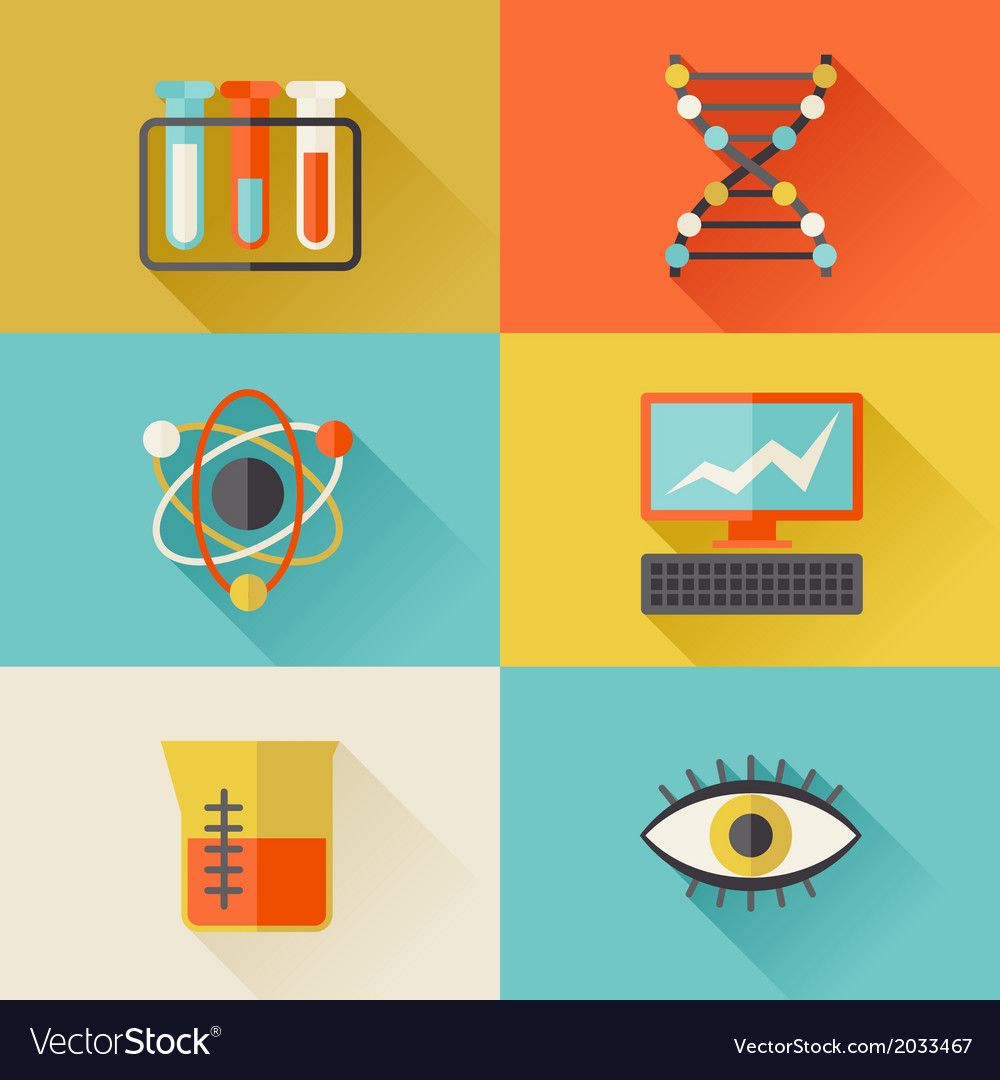 Science icons in flat design style vector | Price: 1 Credit (USD $1)