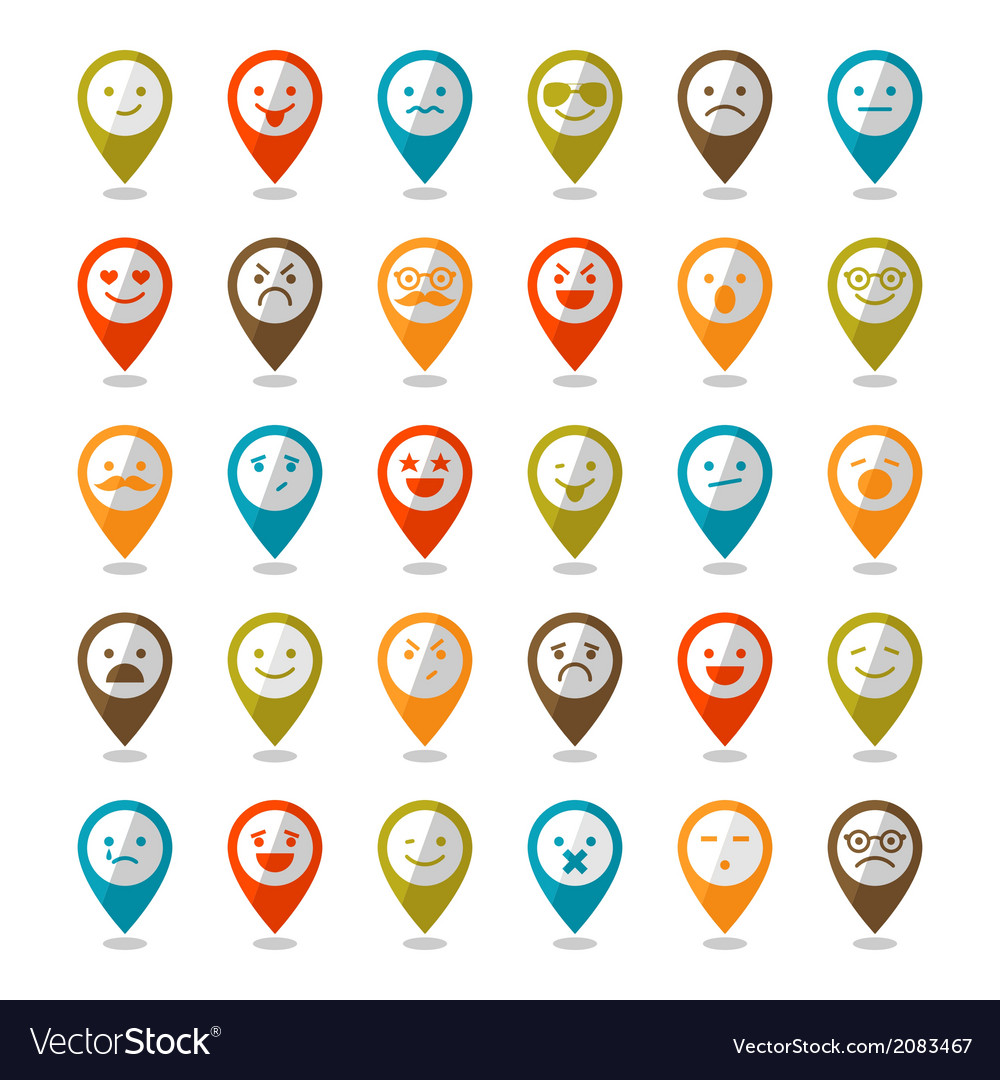 Set of color smiley icons mapping pins vector | Price: 1 Credit (USD $1)