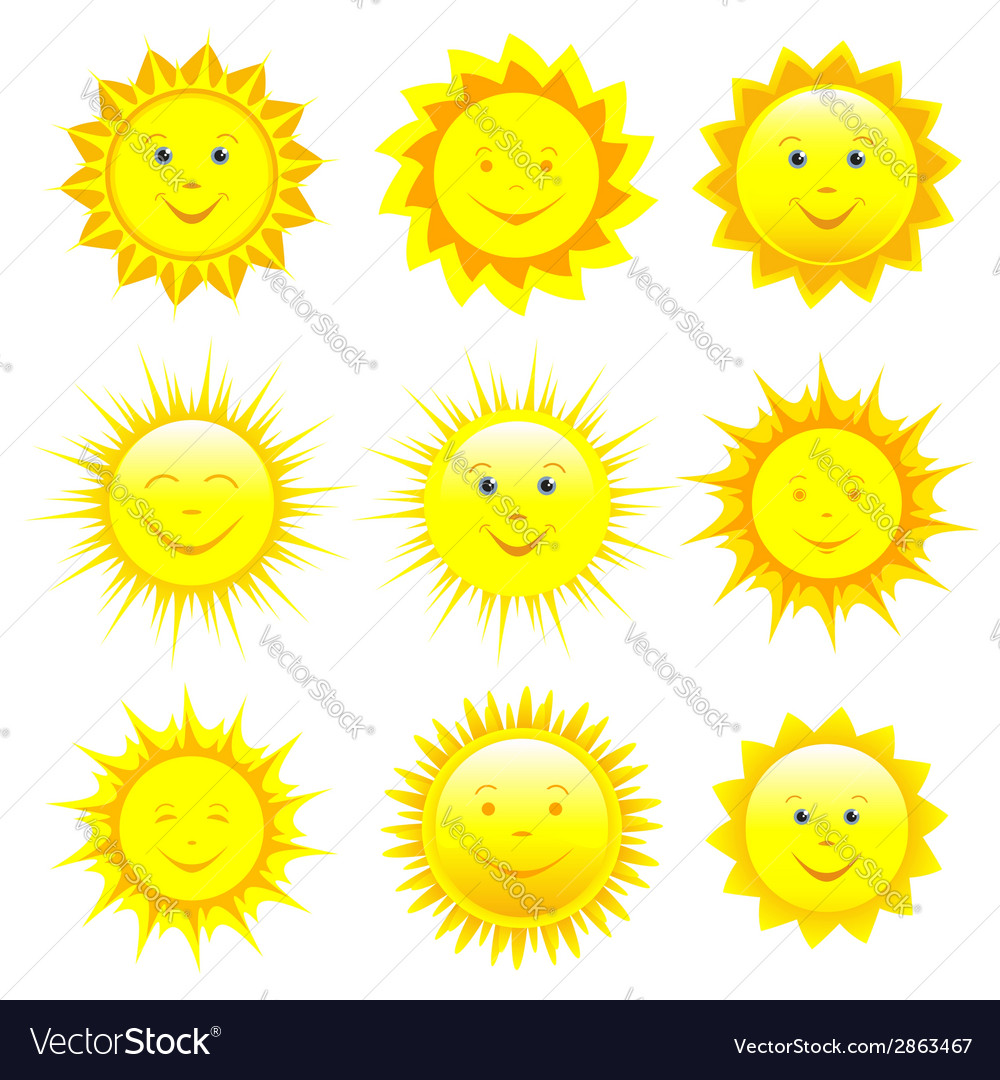 Set of smiling sun vector | Price: 1 Credit (USD $1)