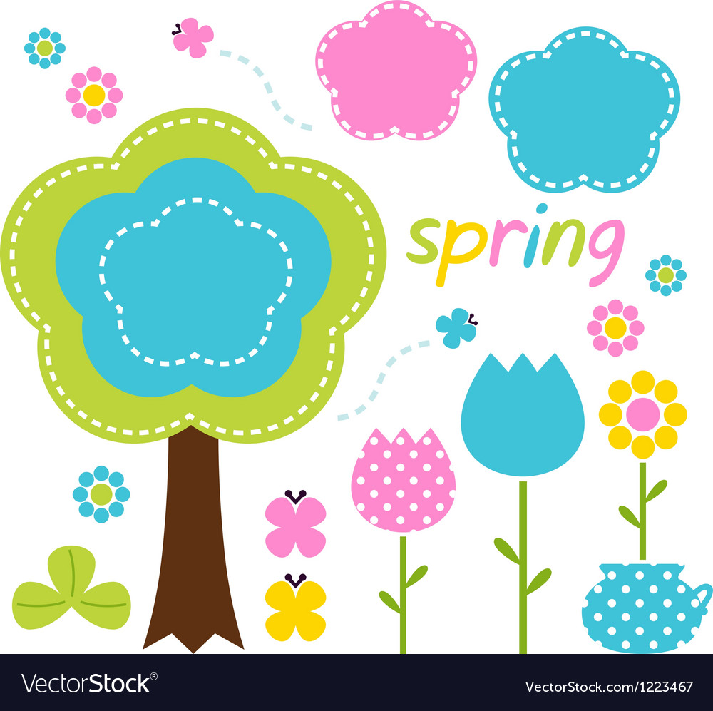 Spring colorful flowers and nature design elements vector | Price: 1 Credit (USD $1)