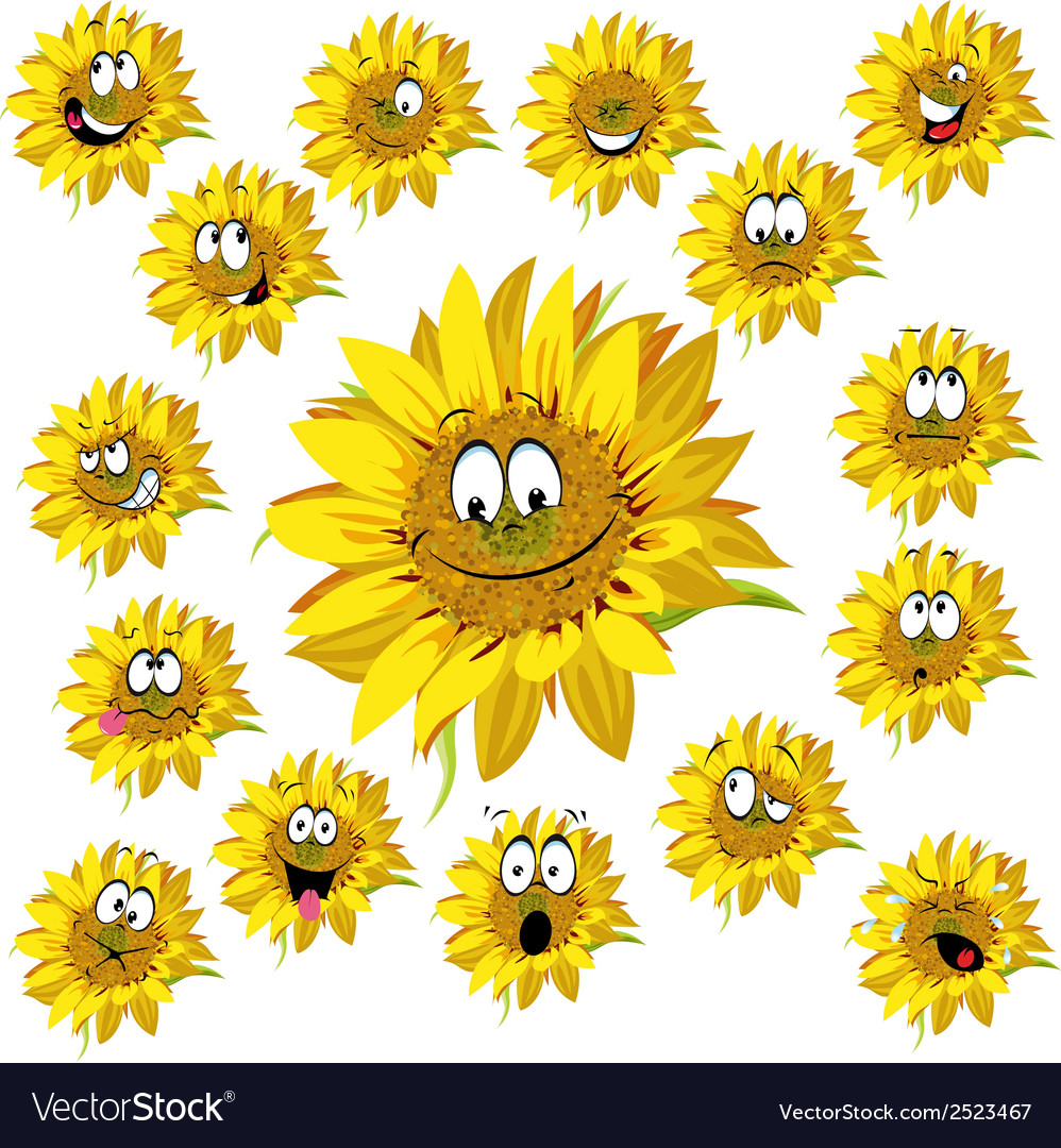 Sunflower cartoon vector | Price: 1 Credit (USD $1)