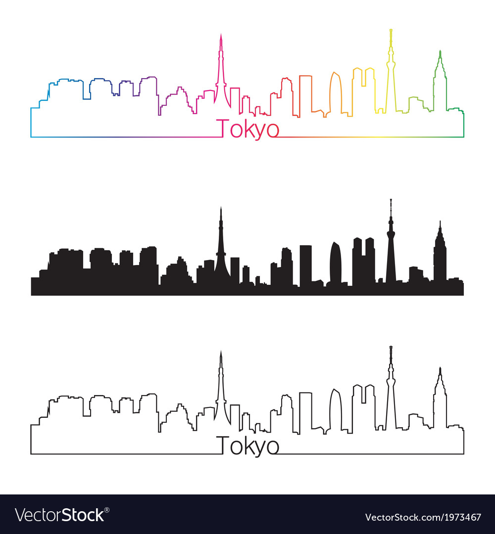 Tokyo skyline linear style with rainbow vector | Price: 1 Credit (USD $1)